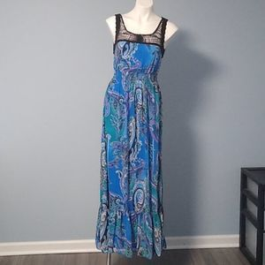 Bisou Bisou blue paisley maxi dress size 6